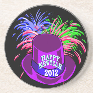 New Year's Hat And Fire Works Coaster