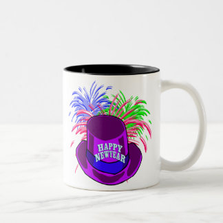 New Year's Hat And Fire Works Mug