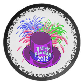 New Year's Hat And Fire Works Plate