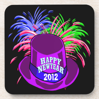 New Year's Hat And Fire Works Square Coasters