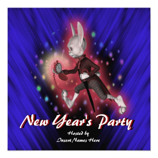 New Year's holiday party cartoon rabbit Custom Announcements