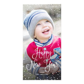 New Years Holiday Snow Photo Card