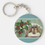 New Years Kittens at Dinner Basic Round Button Key Ring
