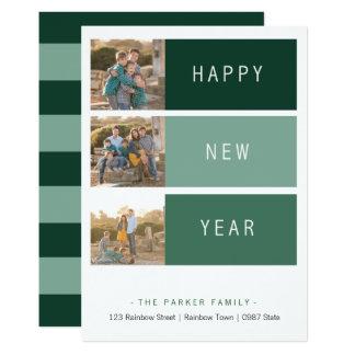 New Year's modern Photo Card template green shade 13 Cm X 18 Cm Invitation Card