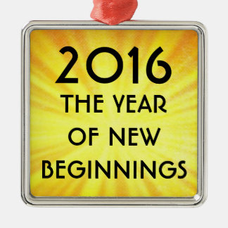 New Years New Beginnings 2016 Silver-Colored Square Decoration