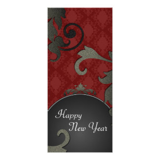 New Years Party Invite - Black & Red Floral Damask Rack Card Design