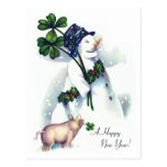 New Year's Snowman with Lucky Pig Postcards