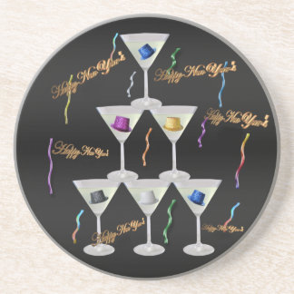 New Year's Stacked Champagne Glasses Sandstone Coaster