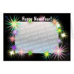 New Years Starblast on Black (photo frame) Greeting Card