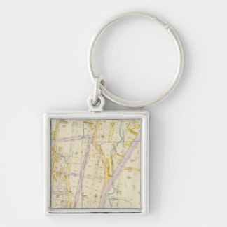 New York 10 Silver-Colored Square Key Ring