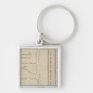 New York 11 Silver-Colored Square Key Ring