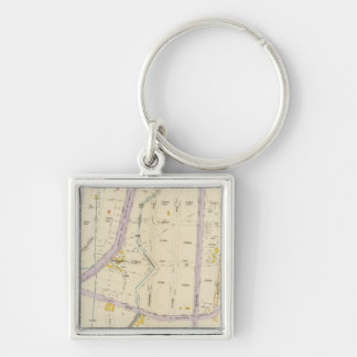 New York 12 Silver-Colored Square Key Ring