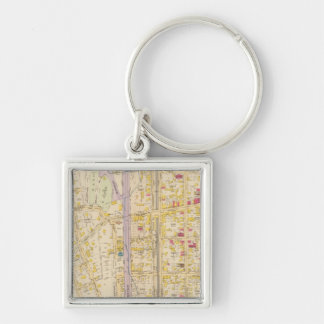 New York 13 Silver-Colored Square Key Ring