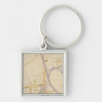 New York 14 Silver-Colored Square Key Ring