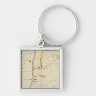New York 15 Silver-Colored Square Key Ring