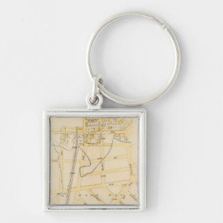 New York 16 Silver-Colored Square Key Ring