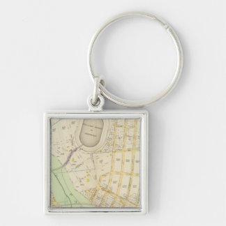 New York 17 Silver-Colored Square Key Ring
