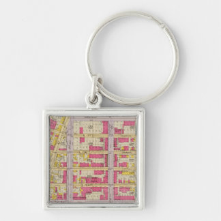 New York 19 Silver-Colored Square Key Ring