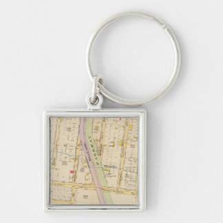 New York 20 Silver-Colored Square Key Ring