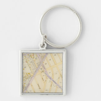 New York 22 Silver-Colored Square Key Ring
