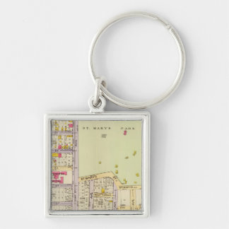 New York 25 Silver-Colored Square Key Ring