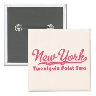 New York 26 2 Pink Marathon Button