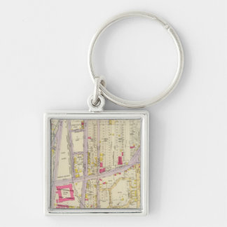 New York 26 Silver-Colored Square Key Ring