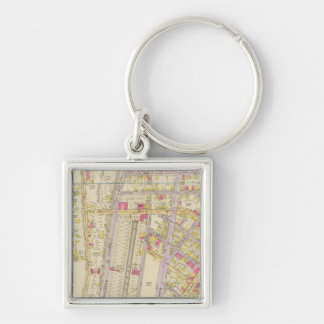 New York 32 Silver-Colored Square Key Ring