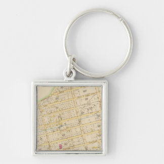 New York 34 Silver-Colored Square Key Ring