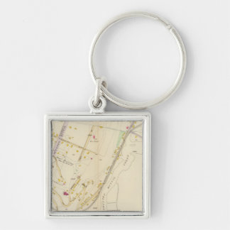 New York 4 Silver-Colored Square Key Ring