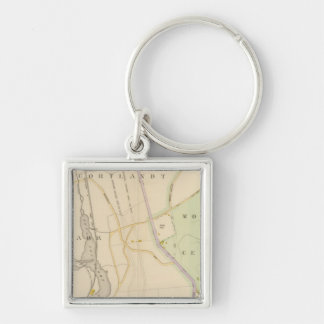 New York 9 Silver-Colored Square Key Ring