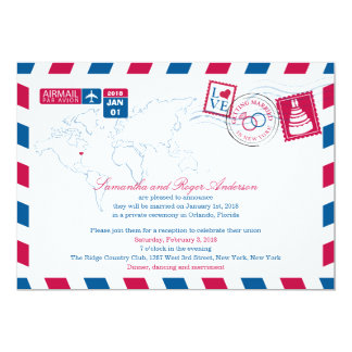 New York Airmail Post Wedding Reception Card