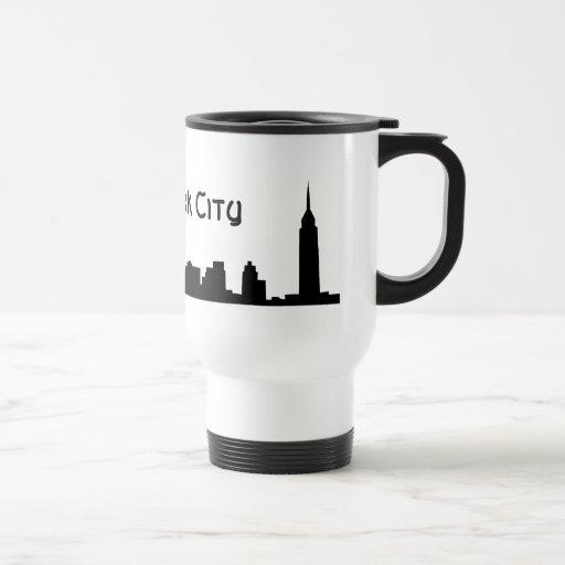 new york all black coffee mug