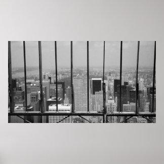 New York and Central Park Black & White Poster
