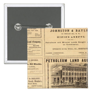 New York and Pennsylvania Oil Advertisements 15 Cm Square Badge
