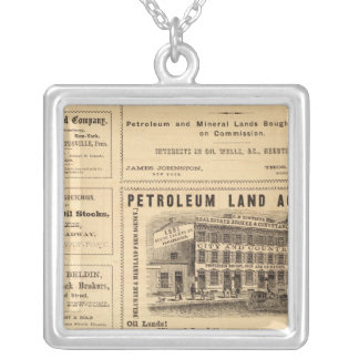 New York and Pennsylvania Oil Advertisements Square Pendant Necklace