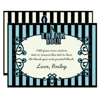 New York, Aqua Blue Stripes Thank You Cards