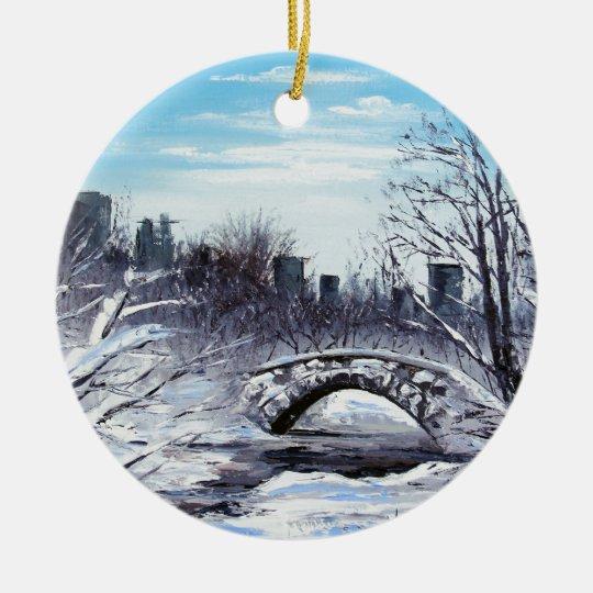 New York Art, Central Park, Landscape Christmas Ornament