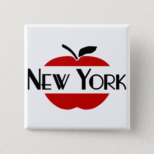 New York Art Deco With 2-Colour Apple, Sliced 15 Cm Square Badge