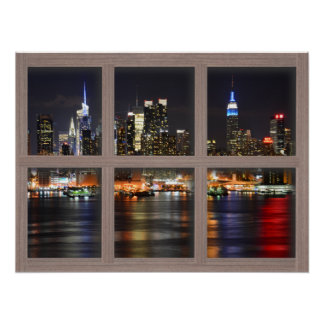 New York At Night - Bleached 4 Pane Window Poster