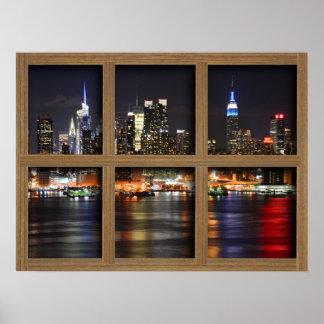 New York At Night - Brown 6 Pane Window Poster