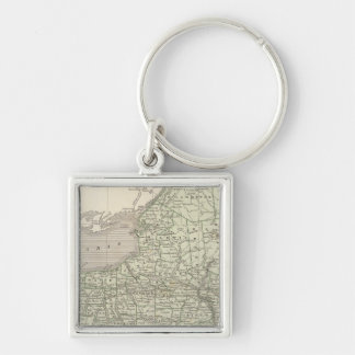 New York Atlas Map Silver-Colored Square Key Ring