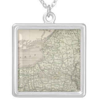 New York Atlas Map Silver Plated Necklace
