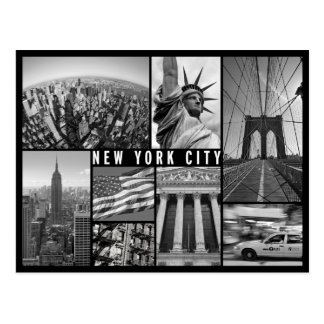 new york black and white postcard