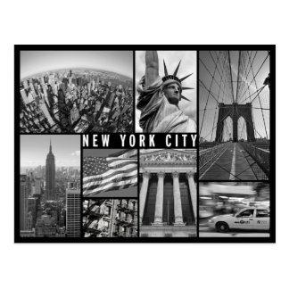 new york black and white postcard