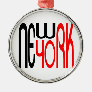 New-York-Black-Red Typography Silver-Colored Round Decoration