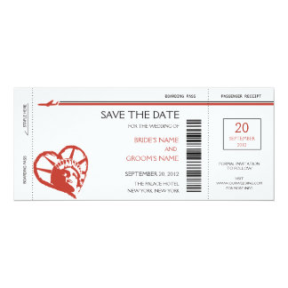 New York Boarding Pass Save the Date Invitations
