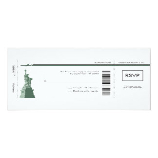 New York Boarding Pass Wedding RSVP 10 Cm X 24 Cm Invitation Card