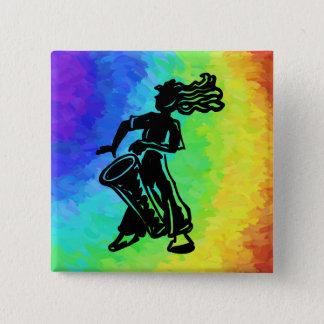 New York Boogie Nights Drum Rainbow 15 Cm Square Badge