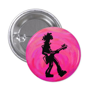 New York Boogie Nights Guitar Hot Pink Pinback Button